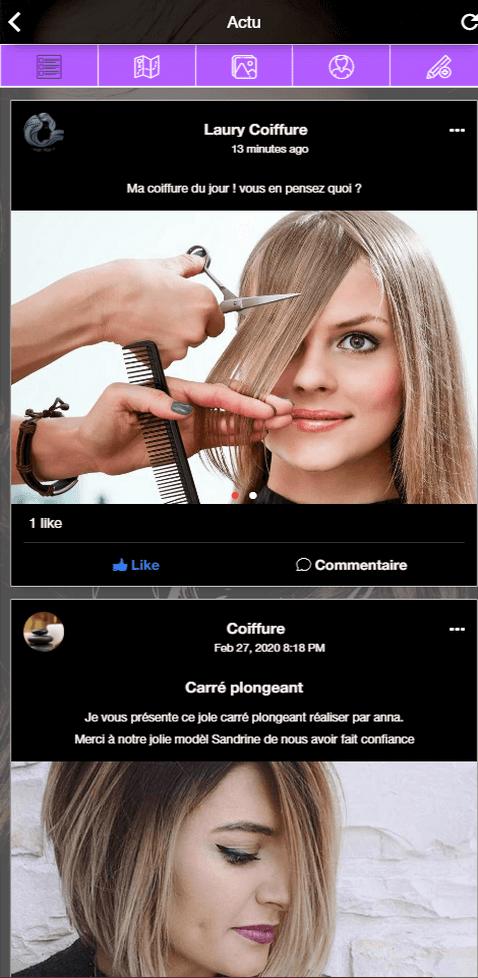Application Mobile Android Ios Pour Salon De Coiffure Avec Reservation Reseau Social Integre Big Appli